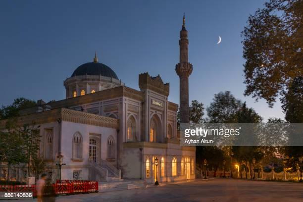 The Yildiz Hamidiye Mosque at night in Istanbul