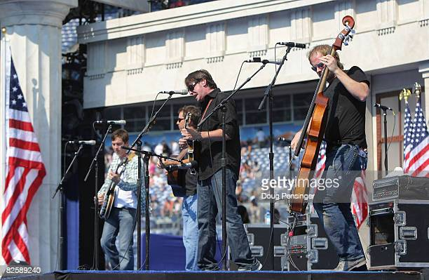 The Yonder Mountain String Band performs on day four of the Democratic National Convention at Invesco Field at Mile High August 28 2008 in Denver...
