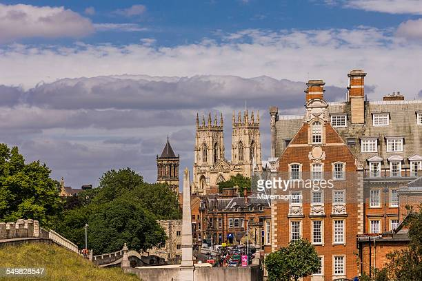 the york minster (cathedral) from the walls - york yorkshire stock pictures, royalty-free photos & images