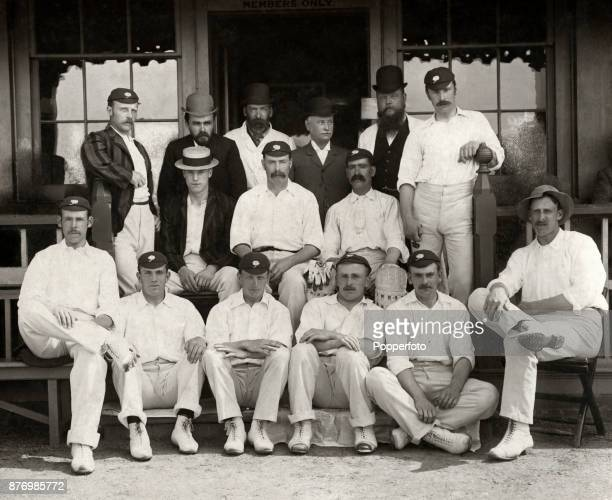 The Yorkshire County Cricket team the County champions in 1893 Left to right back row Bobby Peel unidentifed Rylott Turner Draper and Thomas Wardall...