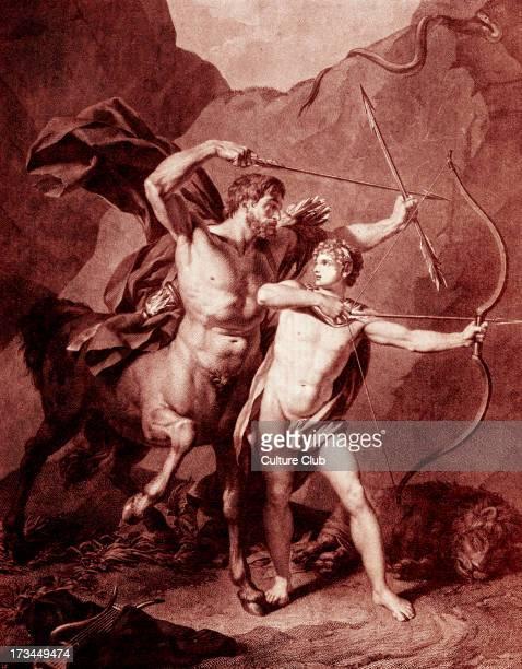 The young Achilles practices archery with Chiron the centaur who raised him Caption 'Die Erziehung des Achilles' Tinted version