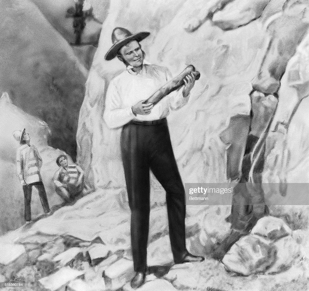 Charles Darwin Posing on South American Excursion : News Photo