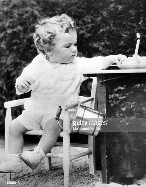 The young Charles Lindbergh Junior sitting on a chair during his first birthday USA 1931