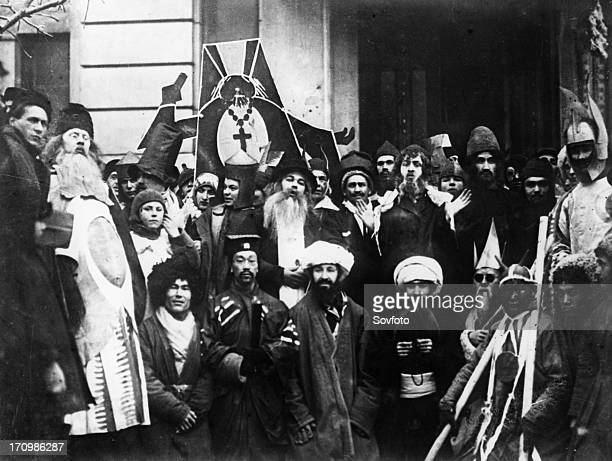 The young communist league holding an antireligious ceremony called the komsomol christmas in moscow 1923