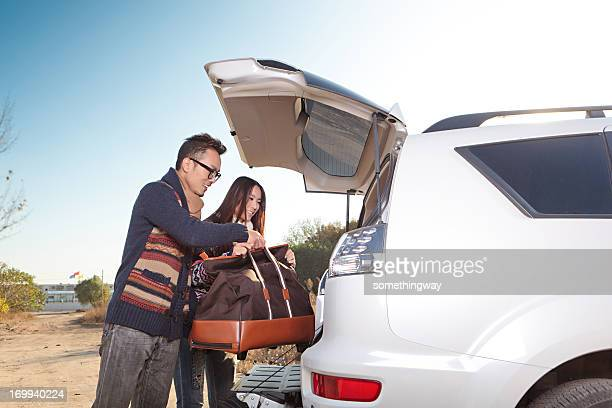 The young couple driving to travel