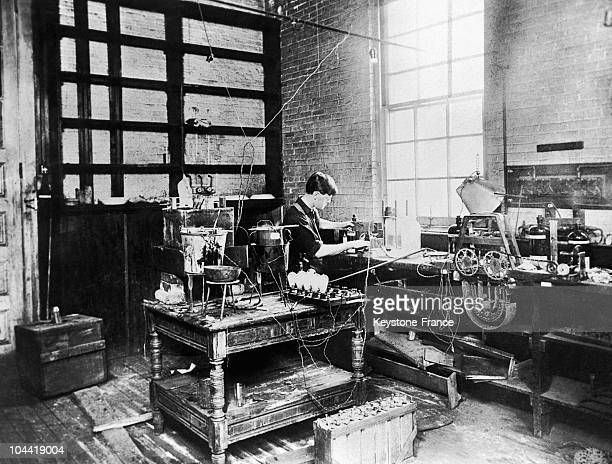The Young Inventor Rhoms Edison In His Newark Laboratory In New Jersey USA In The Early 1870'S He Was Then Working On The Incandescent Lightbulb...