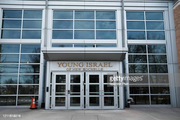 The Young Israel of New Rochelle Synagogue where it is believed the outbreak began in the city stands in the one mile containment zone on March 11...