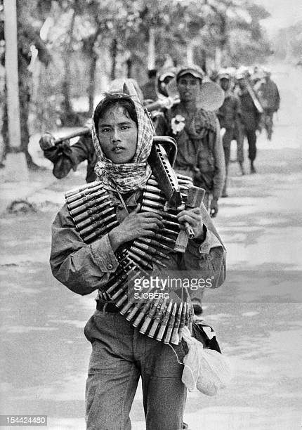 The young Khmer Rouge guerilla soldiers enter 17 April 1975 Phnom Penh the day Cambodia fell under the control of the Communist Khmer Rouge forces...