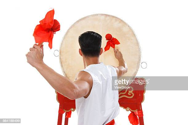 The young man was drumming