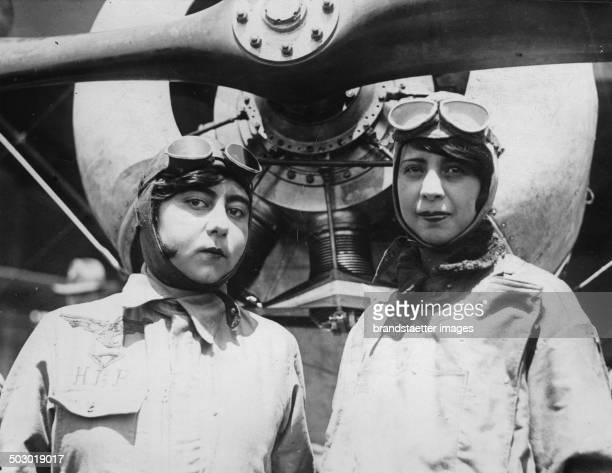 The young Mexican female pilots Maria Luisa Parra Tejeda and Maria del Carmen Parra Mexico City 21th September 1929 Photograph
