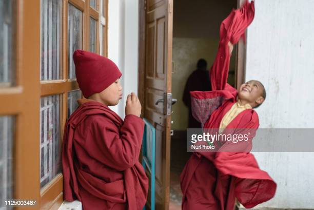 The young monks have a rest time after the morning puja in the Thrangu Tashi Yangtse Monastery Kavrepalanchok District Bagmati Zone Nepal in February...
