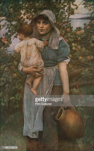 The Young Mother' circa 1887 Working woman in an orchard carrying a child and a terracotta jug Painting in the Dublin City Gallery Ireland From...