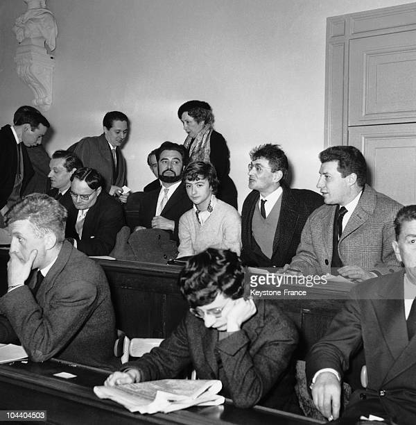 The young novelist Francoise SAGAN attending the trial of JeanClaude VIVIER and Jacques DERMEUS the murderers of the Park of SaintCloud from the...