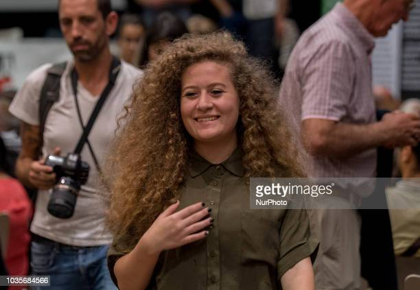 The young Palestinian activist Ahed Tamimi accompanied by her parents and brothers were present in Nantes France on 18 September 2018 on the occasion...