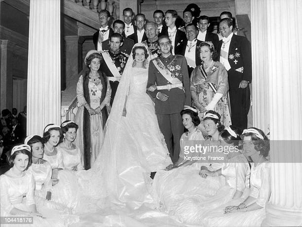 The young royal couple SOPHIE of Greece and Prince Don Juan CARLOS heir to the Spanish throne posing with maids of honor and members of the family in...