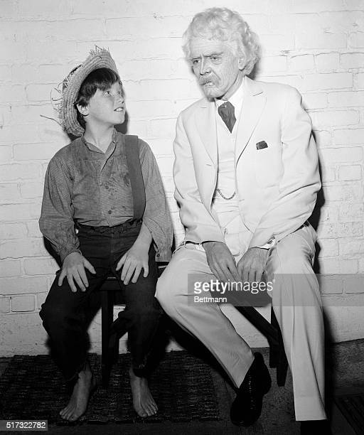 The young star of The Adventures of Huckleberry Finn meets Hal Holbrook in costume for his role in a play as Mark Twain | Location HuntingtonHartford...