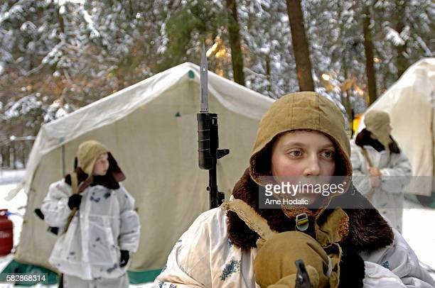 The young trainees assembled in front of the tents to start their morning exercises Although the temperatures are well below zero degrees centigrade...