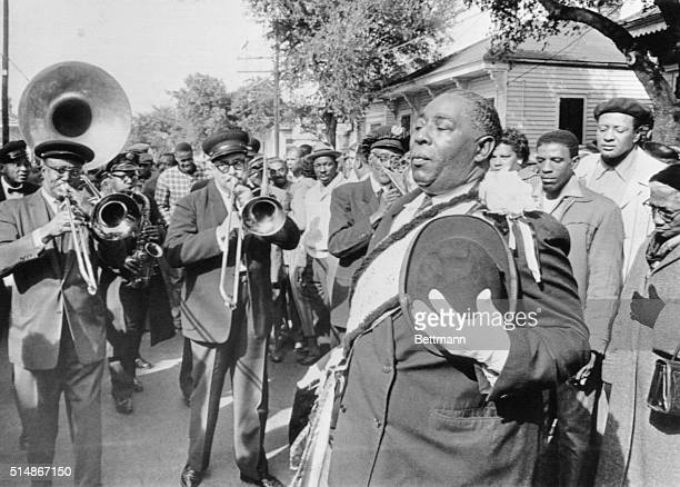 The Young Tuxedo Brass Band leads a traditional jazzman's funeral in New Orleans on January 7 1962 for clarinetist John Casimir who formed the band...