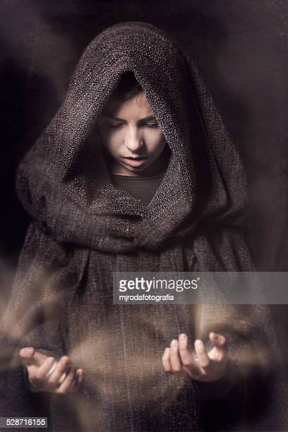 the young wizard - cape garment stock photos and pictures