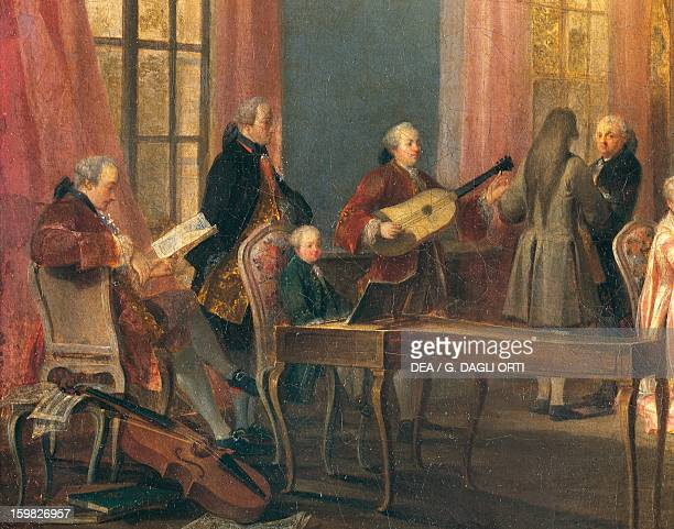 The young Wolfgang Amadeus Mozart playing the harpsichord detail from the painting Tea in the salon of the Prince de Conti in the Palais du Temple by...