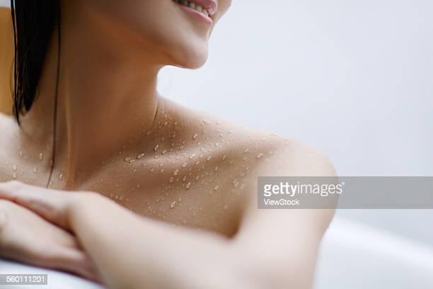 the young woman bathing - sin camisa fotografías e imágenes de stock