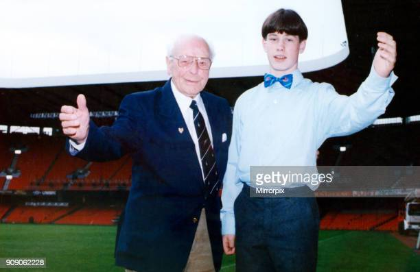 The youngest and oldest singers Aled Thomas of Brecon and Frank Lock pictured at the National Stadium Cardiff Arms Park during preparations for the...