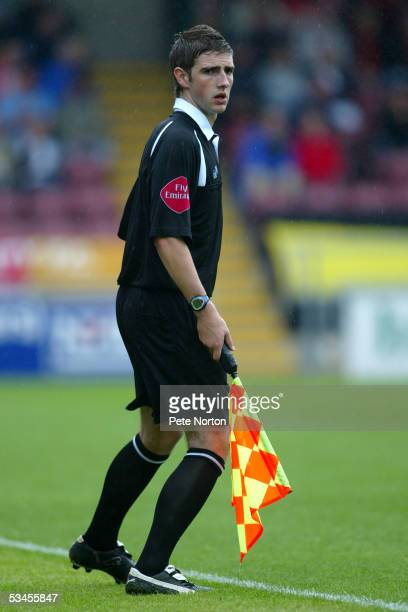 The youngest assistant referee in the league Steve Cook makes his first appearance during the Coca Cola League two match between Northampton Town and...