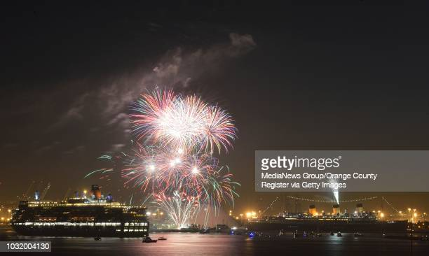 BEACH CALIF USA The youngest Cunard Line ship Queen Elizabeth left visits the Queen Mary in Long Beach Harbor on March 12 2013 The Queen Mary was...