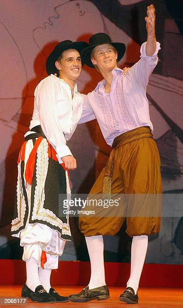 The youngest son of the Prince of Wales Prince Harry as Conrade in a masked ball scene from a production of 'Much Ado about Nothing' with another...