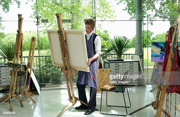 The youngest son of the Prince of Wales Prince Harry at work on May 12 2003 in the Drawing School at Eton College Eton in England The Royal Family on...