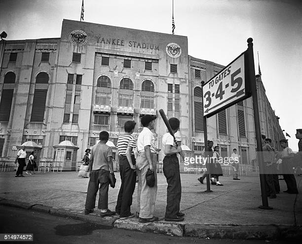 """""""The Youngsters Pay Their Respects."""" Though too young to have ever seen Babe Ruth play ball, these 4 youngsters wandered down to Yankee Stadium on..."""