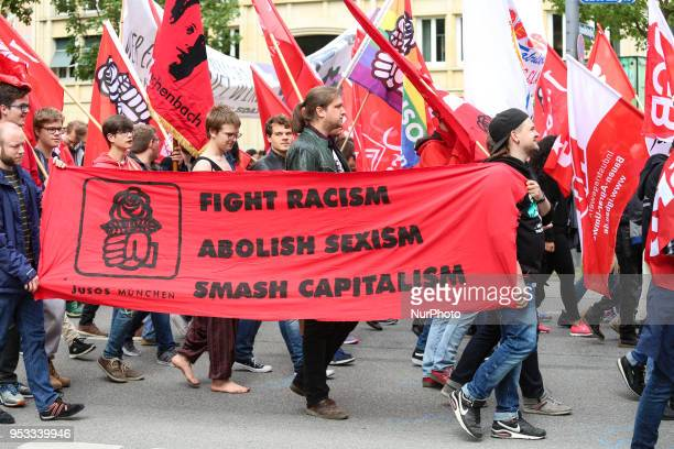 The youth organisation of the governing Social Democratic Party of Germany JuSo with a banner against Racism Sexism and capitalism Several thousands...