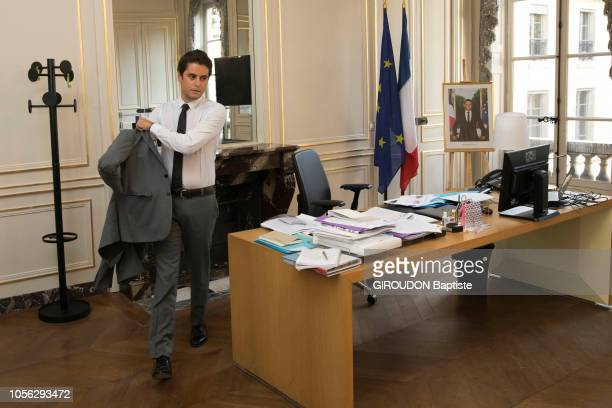 the youth State Secretary of the Minister of Education and Youth Gabriel Attal is photographed for Paris Match at his office on October 18 in Paris...