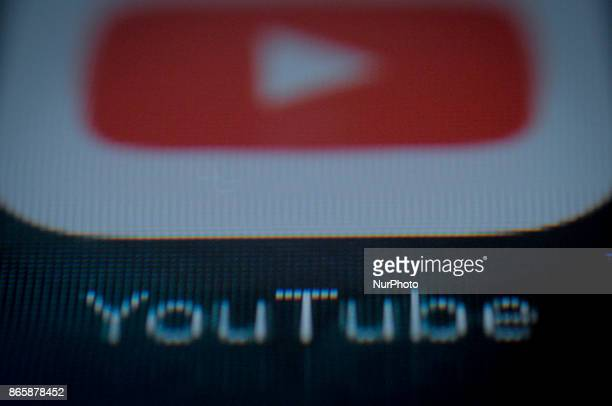 The YouTube application is seen on an Apple iPad on October 24 2017