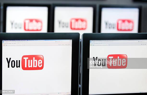 The YouTube Inc company logo is displayed on computer monitors in London UK on Friday April 9 2010 Google based in Mountain View California acquired...