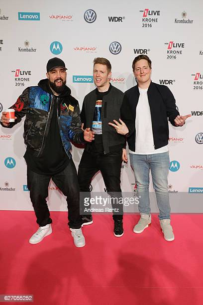 The youtubers BullshitTV attend the 1Live Krone at Jahrhunderthalle on December 1 2016 in Bochum Germany