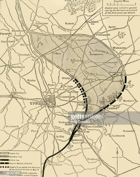 The Ypres Salient before and after the Second Battle of Ypres, April 22-May 13', First World War . Map showing positions of the allied forces around...
