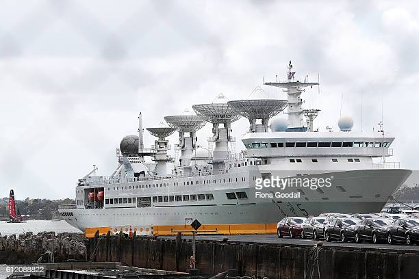 The Yuan Wang 5 of China is seen docked on October 2 2016 in Auckland New Zealand The Yuan Wang 5 arrived yesterday and will stay until the 6th The...