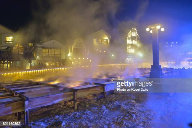 the yubatake at night - gunma prefecture stock photos and pictures