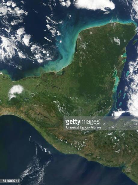 Peninsula de Yucatan in southeastern Mexico separates the Caribbean Sea from the Gulf of Mexico with the northern coastline on the Yucatan Channel...