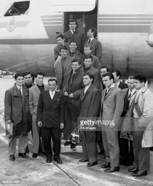 The Yugoslavian football team at London Airport on their arrival for the international friendly against England at Wembley Stadium Including...
