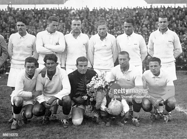 The Yugoslavian team prior to their FIFA World Cup match against Brazil at the Parque Central in Montevideo 14th July 1930 Yugoslavia won 21 Back row...