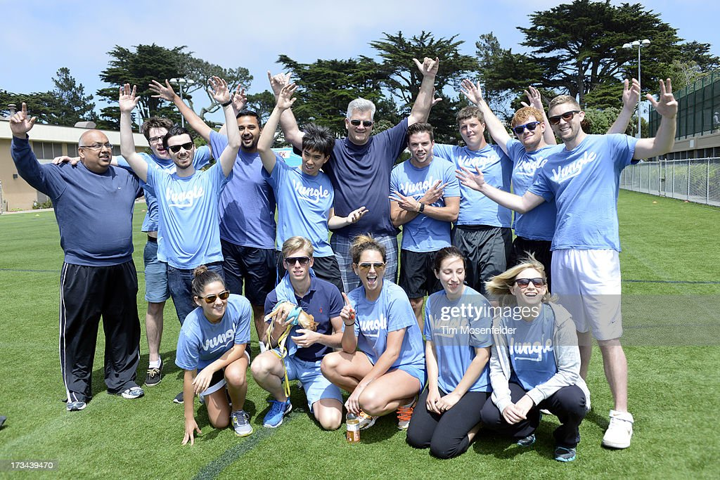 The Yungle team pose at the Founder Institute's Silicon Valley Sports League on July 13, 2013 in San Francisco, California.