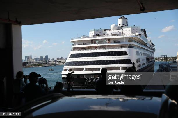 The Zaandam cruise ship docks at Port Everglades on April 02 2020 in Fort Lauderdale Florida The Holland America cruise ship had been at sea for the...