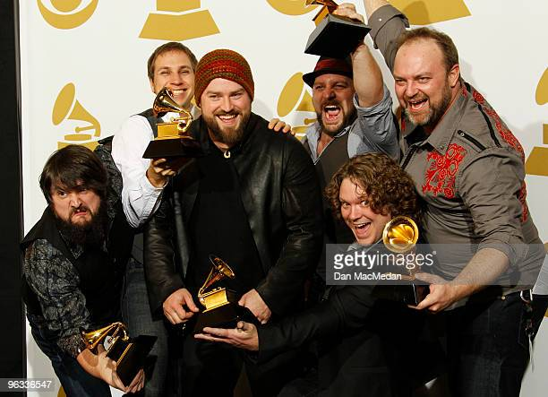 The Zac Brown Band poses with their award for Best New Artist in the press room at the 52nd Annual GRAMMY Awards held at Staples Center on January 31...