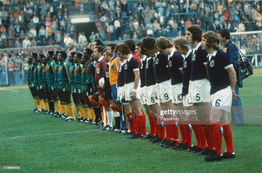 The Zaire and Scottish teams line up before their World Cup Group 2 match at the Westfalenstadion, Dortmund, Germany, 14th June 1974. Scotland won the match 2-0.