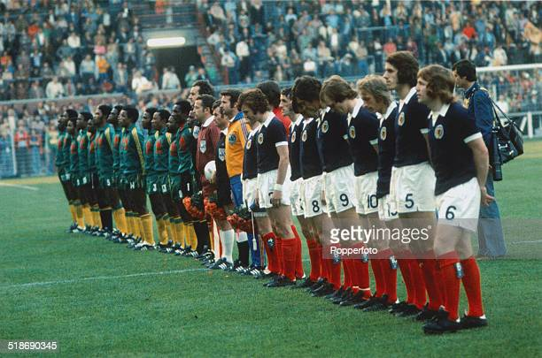 The Zaire and Scottish teams line up before their World Cup Group 2 match at the Westfalenstadion Dortmund Germany 14th June 1974 Scotland won the...