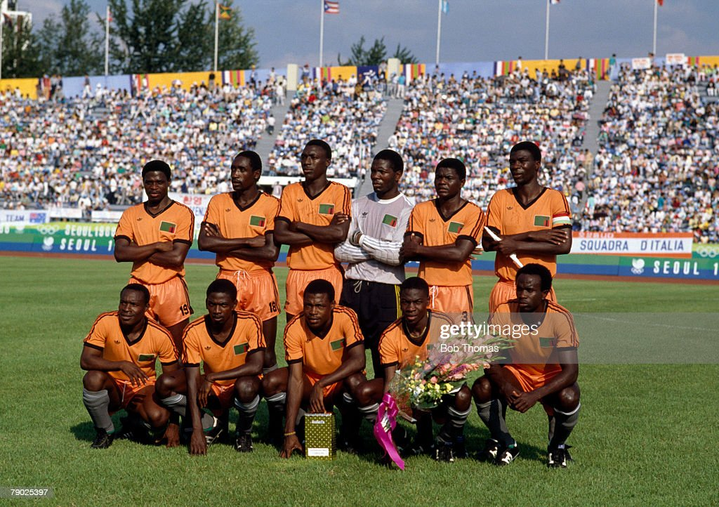 The Zambia football team pose for a team group shot before their match with Italy inside the Gwangju Mudeung Stadium in Gwangju, South Korea during the football tournament at the 1988 Summer Olympics in South Korea on 19th September 1988. Zambia would go on to win the game 4-0.