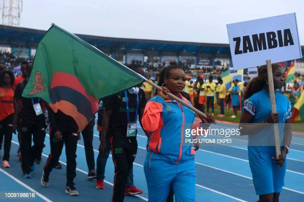 The Zambian contingent marches during the opening of the 21st African Senior Athletics Championships at the Stephen Keshi Stadium in Asaba Delta...