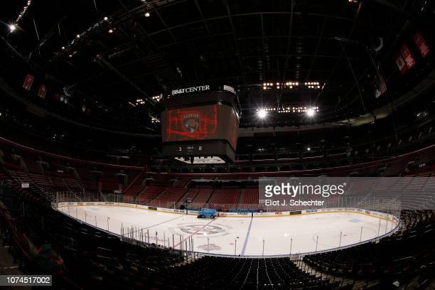 The Zamboni ice resurfacing machine makes its rounds prior to the Florida Panthers hosting the Anaheim Ducks at the BB&T Center on November 28, 2018...